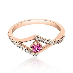 0.15ct Natural PINK SAPPHIRE 14K Rose Gold 2.35gm Ring