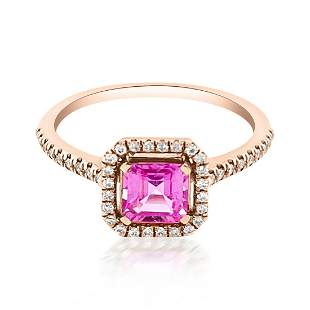 0.85ct Natural PINK SAPPHIRE 14K Rose Gold 2.29gm Ring