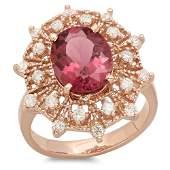 3.04ct Pink Tourmaline 14 K Rose Gold Ring