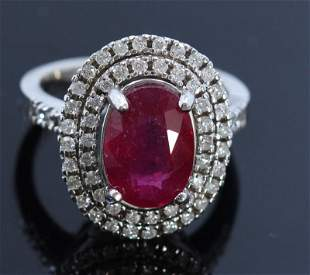 4.59ct NATURAL Ruby 14K White Gold Ring