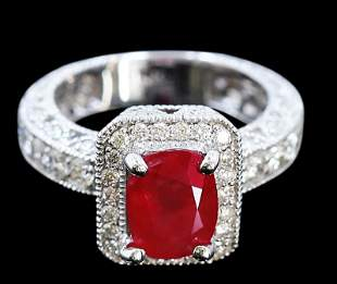 2.74ct NATURAL Ruby 14K White Gold Ring