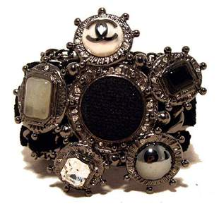Chanel Black Wool and Gunmetal Charms Bracelet-limited