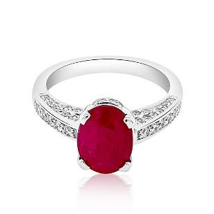 2.11CT NATURAL RUBY 14K W/G RING