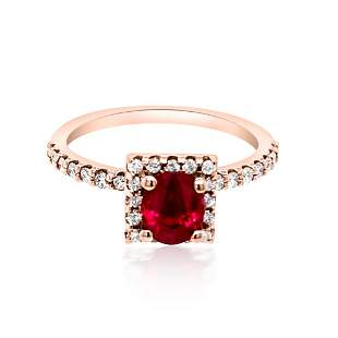 0.99ct NATURAL Ruby 14K Rose Gold Ring