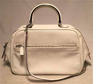 Valextra White Leather Top Handle Shoulder Bag