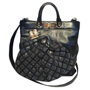 Marc Jacobs Black Leather and Sequin Small Duffy Frog