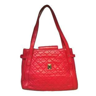 Judith Leiber Vintage Quilted Red Leather Shoulder Bag