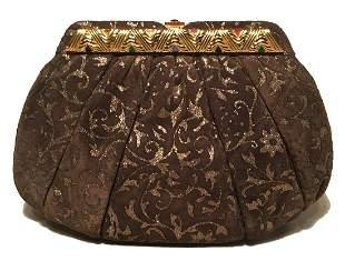 Judith Leiber Vintage Brown Suede Gold Glitter Embossed