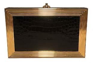Judith Leiber Vintage Black and Gold Alligator