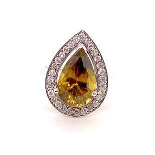 6.20ct Natural African Sphene 14K White Gold Ring