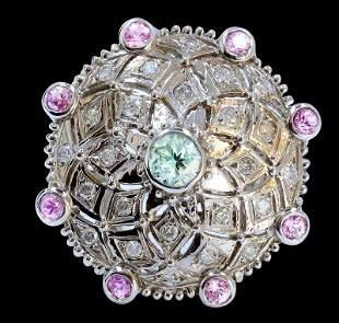 0.78 Ct Pink Sapphire Tourmaline 14K White Gold Ring
