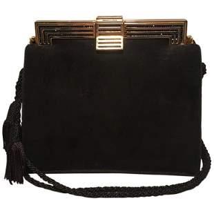 Judith Leiber Black Suede Evening Bag Clutch with Silk