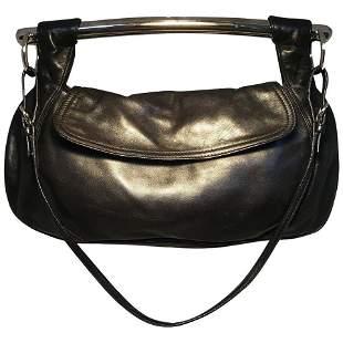 Prada Black Leather Bar Top Handle Convertible Handbag