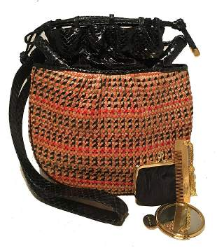 Judith Leiber Vintage Snakeskin Woven Basket Drawstring