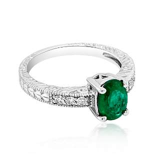 0.90CT NATURAL COLOMBIAN Emerald 14K W/G RING