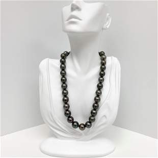 12-14mm Tahitian Dark Near-Round Pearl Necklace with