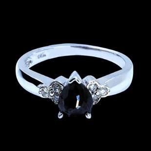1.19CT TREATED NATURAL BLACK DIAMOND 14K WHITE GOLD