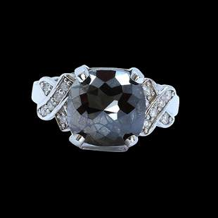 5.81CT TREATED BLACK DIAMOND 14K WHITE GOLD RING