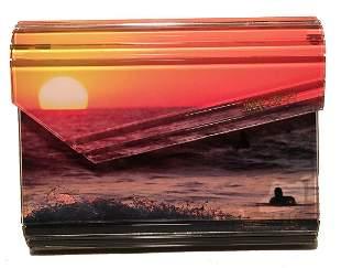 Jimmy Choo Ocean Surfer Sunset Print Acrylic Clutch