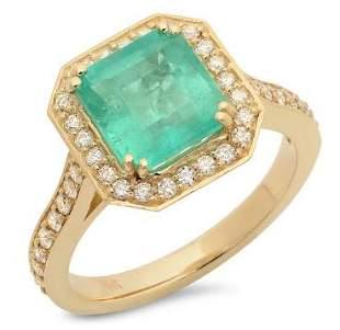 2.62ct Emerald 14 K Yellow Gold Ring