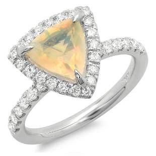 0.98ct Opal 14 K White Gold Ring