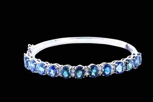 15.12ct NATURAL CEYLON Sapphire 18K White Gold Bracelet