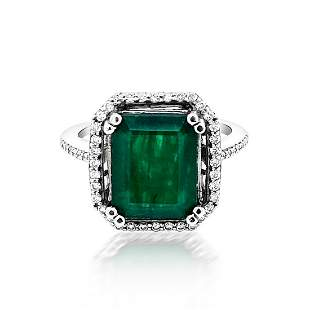 4.77ct Natural Emerald 14K White Gold 4.25gm Ring