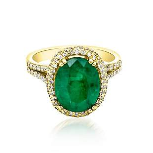 3.24ct Natural Emerald 14K Yellow Gold 4.8gm Ring
