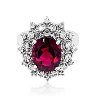3.5ct Natural Pink Tourmaline 14K White Gold 6.7gm Ring