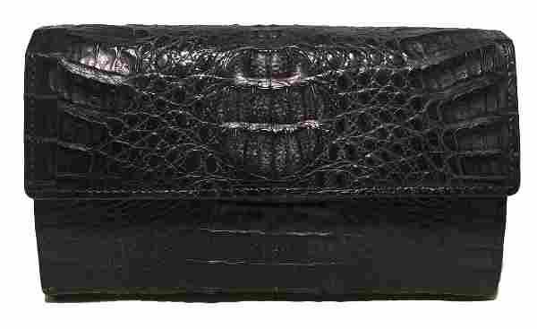 Allez Vintage Navy Crocodile Wallet