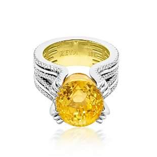GIA 16.84ct Natural No Heat Ceylon Yellow Sapphire 18K