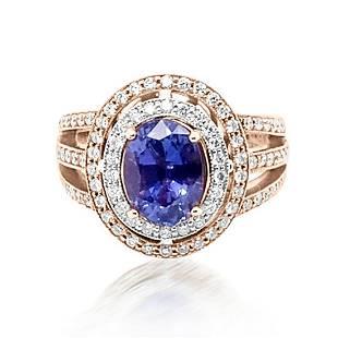 2.59ct Natural Ceylon Blue Sapphire 14K Rose Gold Ring