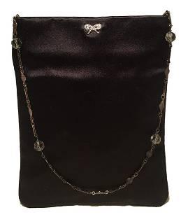 Anya Hindmarch Black Silk Beaded Handle Evening Bag