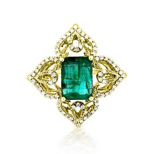 3.77ct Natural Emerald 14K White Gold 5.84gm Ring