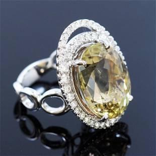 16.90ct Natural Tourmaline 14K White Gold Ring