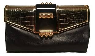 Jimmy Choo Black Leather Gold Alligator Engraved Lift