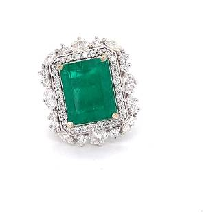 GIA Certified 9.83ct NATURAL Colombian Emerald 18K
