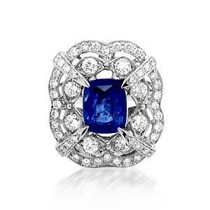 GIA 3.11ct Natural Ceylon Blue Sapphire 14K White Gold