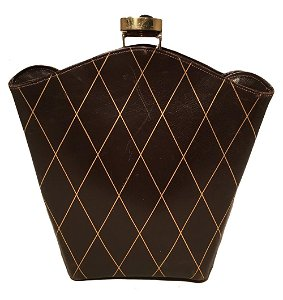 Vintage 1950s Brown Leather Crosshatch Print Clutch