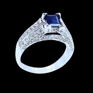 0.83CT NATURAL CEYLON BLUE SAPHIRE 14K WHITE GOLD RING
