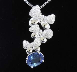 1.77ct NATURAL CEYLON Blue Sapphire 18K White Gold