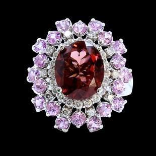 4.50ct Pink Tourmaline 14K White Gold Ring