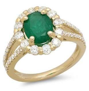 1.46ct Emerald 14 K Yellow Gold Ring