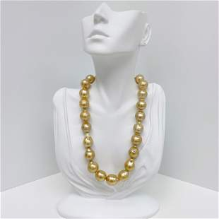 15-16mm Golden South Sea Circled-Drop/Baroque Pearl