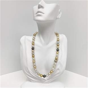 8-10mm South Sea White and Gold and Tahitian Near-Round