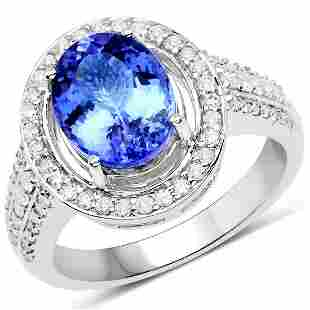 3.44ct Tanzanite 14K White Gold Ring
