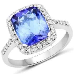 3.4ct Tanzanite 14K White Gold Ring