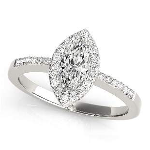 EGL 1.02ct Marquise shape Diamond 14K White Gold 3.96gm