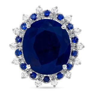10.25ct sapphire & Diamond ring
