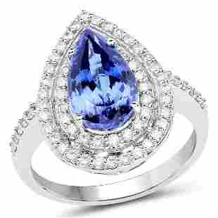 3.49ct Tanzanite 14K White Gold Ring